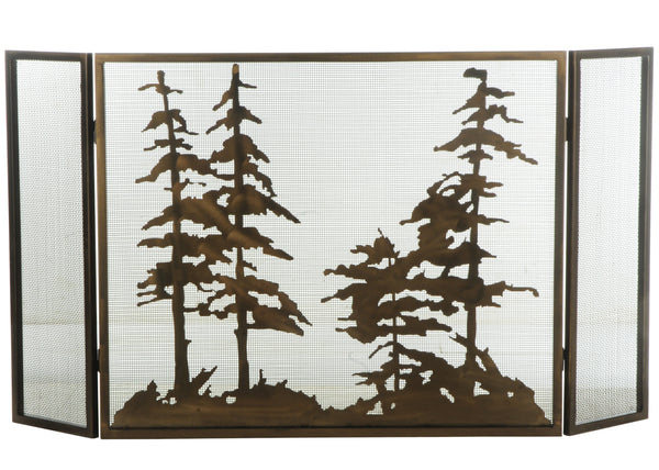 "Modern Country Style Fireplace Screens Meyda 126060 - 56""W X 30""H Tall Pines Fireplace Screen"