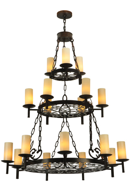 "Modern Farmhouse Ceiling Lights Meyda 126500 - 47.5""W Newcastle 18 LT Three Tier Chandelier"