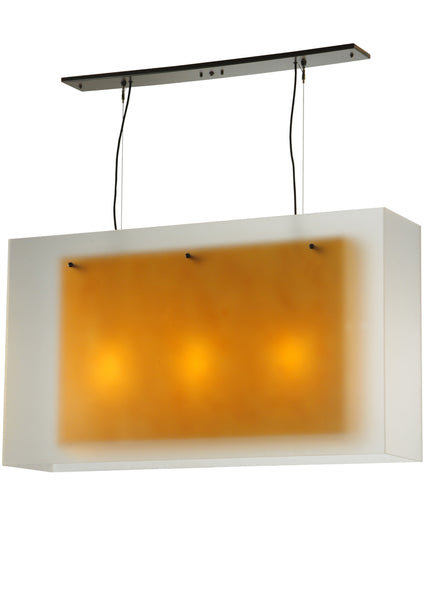 "Modern Lodge Ceiling Lights Meyda 126510 - 48""L Quadrato Shadow Box Oblong Pendant Light"