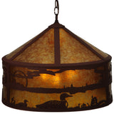 "Rustic Farmhouse Style Ceiling Lights Meyda 126670 - 20.25""W Loon On the Lake Pendant Light"
