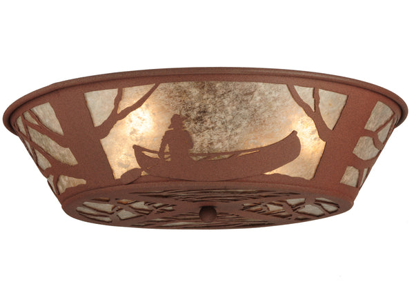 "Rustic Farmhouse Style Ceiling Lights Meyda 127250 - 22.5""W Canoe At Lake Flushmount Light"