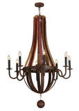 "Modern Log Cabin Ceiling Lights Meyda 127589 - 43""W Barrel Stave Metallo 8 LT Chandelier"