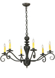 "Rustic Farmhouse Style Ceiling Lights Meyda 127878 - 33""W Emory 6 LT Chandelier"