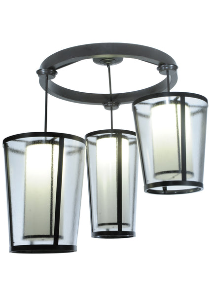 "Modern Log Cabin Style Ceiling Lights Meyda 128480 - 74""W Cilindro Tapered 3 LT Cascading Pendant Light"