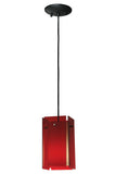 "Rustic Log Cabin Ceiling Lights Meyda 128830 - 5.5""Sq Metro Red Quadrato Acrylic Mini Pendant Light"