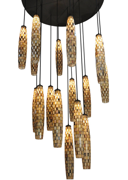 "Modern Lodge Style Ceiling Lights Meyda 129270 - 72""W Checkers 16 LT Cascading Pendant Light"