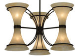 "Farmhouse Style Ceiling Lights Meyda 129867 - 30""W Chronos 3 Arm Chandelier"