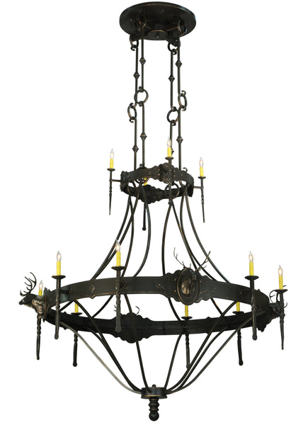 "Modern Lodge Style Ceiling Lights Meyda 130241 - 66.5""W Stag 12 LT Two Tier Chandelier"
