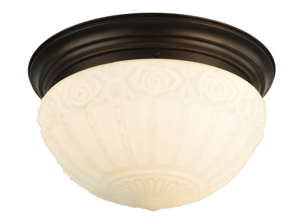 "Modern Rustic Style Ceiling Lights Meyda 130633 - 15.25""W White Puffy Rose Flushmount Light"