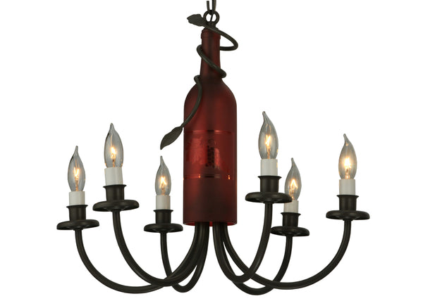 "Log Cabin Style Ceiling Lights Meyda 131185 - 17.5""W Tuscan Vineyard Frosted Red 6 LT Wine Bottle Chandelier"