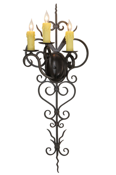 "Modern Farmhouse Style Wall Sconce Lighting Meyda 131396 - 14""W Kenna 3 LT Wall Sconce"