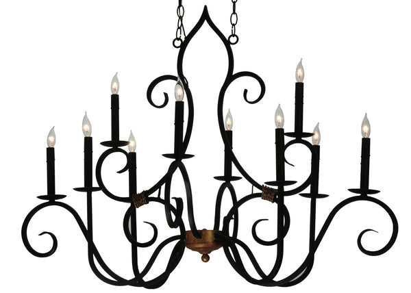 "Modern Rustic Ceiling Lights Meyda 132000 - 43""L Clifton 10 LT Oblong Chandelier"