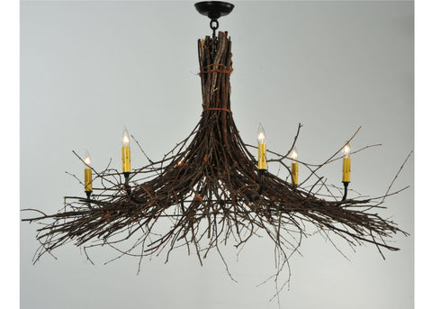 "Modern Farmhouse Style Ceiling Lights Meyda 132514 - 35""-58""W Twigs 6 LT Chandelier"