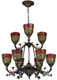 "Cabin Ceiling Lights Meyda 132659 - 28""W Red Rosebud 9 LT Two Tier Chandelier"