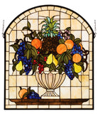 "Rustic Log Cabin Style Windows Meyda 13297 - 25""W X 29""H Fruitbowl Stained Glass Window"