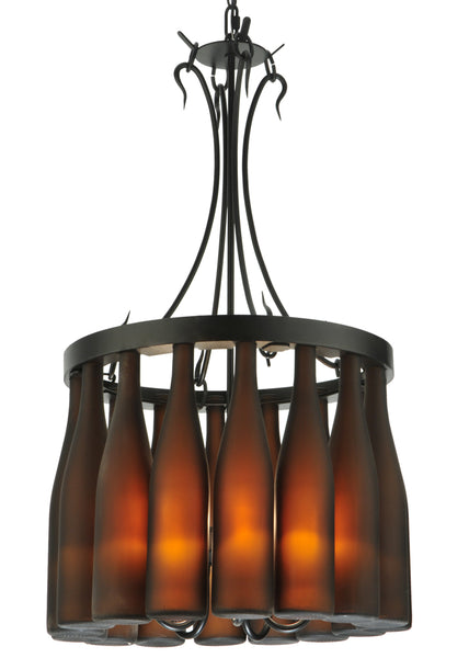 "Rustic Country Style Ceiling Lights Meyda 133651 - 18""W Tuscan Vineyard Villa 16 Wine Bottle Chandelier"