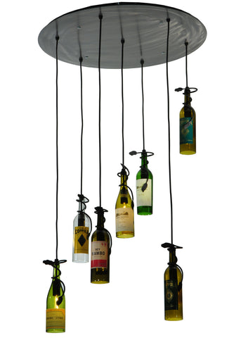 "Lodge Ceiling Lights Meyda 133794 - 30""W Tuscan Vineyard Personalized 7 Wine Bottle Cascading Pendant Light"