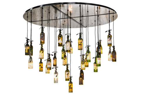 "Log Cabin Ceiling Lights Meyda 133795 - 72""W Tuscan Vineyard 30 Wine Bottle Cascading Pendant Light"