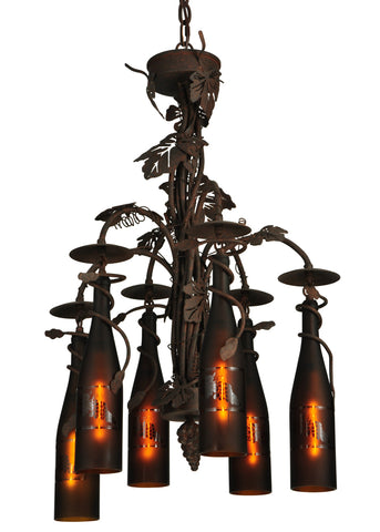 "Modern Country Style Ceiling Lights Meyda 134136 - 20""W Tuscan Vineyard 6 Wine Bottle Chandelier"