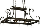 "Rustic Style Ceiling Lights Meyda 134575 - 42.5""L Caiden Pot Rack"