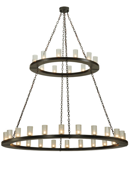 "Lodge Style Ceiling Lights Meyda 134640 - 72""W Loxley 36 LT Two Tier Chandelier"