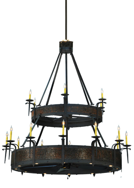 "Modern Country Ceiling Lights Meyda 134750 - 74""W Costello 18 LT Two Tier Chandel-Air"