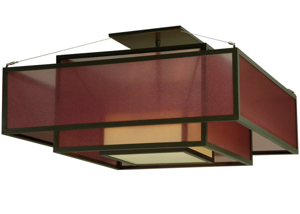 "Modern Log Cabin Ceiling Lights Meyda 134842 - 36""Sq Quadrato Umador Semi-Flushmount Light"