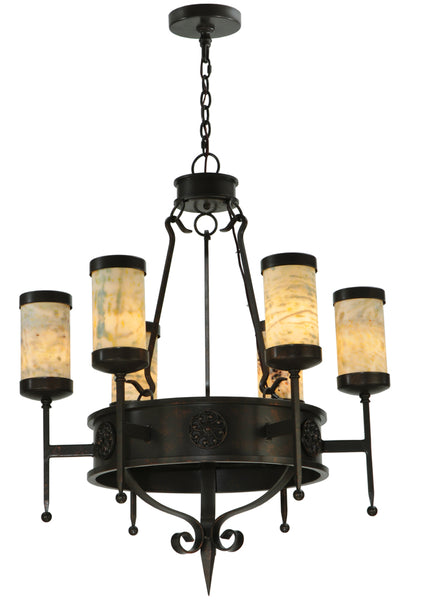 "Rustic Country Ceiling Lights Meyda 135392 - 30""W Lorenzo 6 LT Chandelier"
