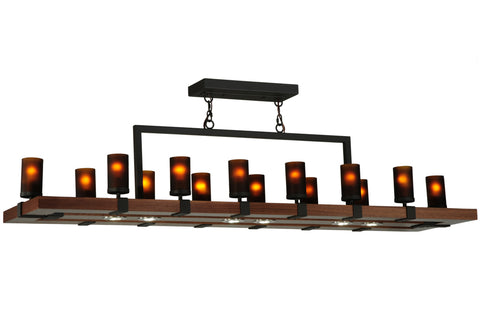 "Rustic Country Ceiling Lights Meyda 135930 - 72""W Grand Terrace 14 LT LED Oblong Chandelier"