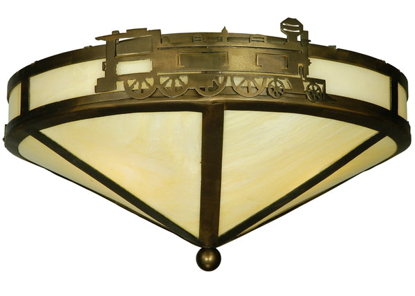 "Rustic Country Style Ceiling Lights Meyda 136032 - 15.75""W Train Flushmount Light"