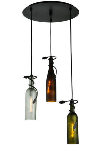 "Log Cabin Style Ceiling Lights Meyda 136534 - 18""W Tuscan Vineyard Multi-Color 3 Wine Bottle Cascading Pendant Light"
