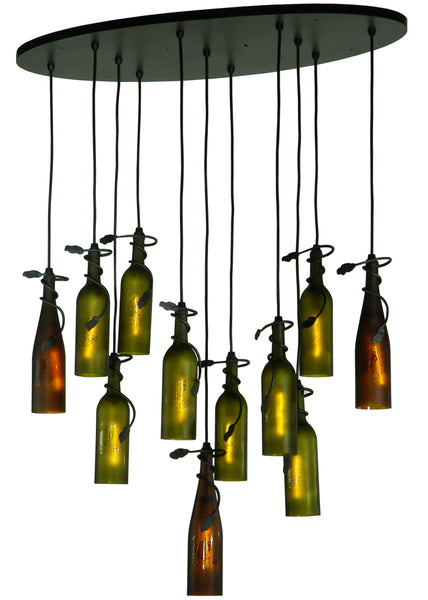"Cabin Ceiling Lights Meyda 137355 - 36""L Personalized Thirsty Owl 11 Wine Bottle Cascading Pendant Light"