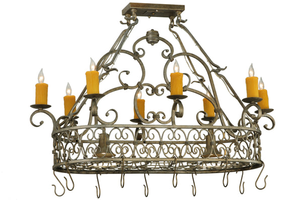 "Modern Country Ceiling Lights Meyda 137411 - 40""L Cira Oblong Pot Rack"