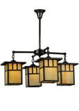 "Farmhouse Ceiling Lights Meyda 137579 - 31""W Hyde Park Double Bar Mission 4 LT Chandelier"