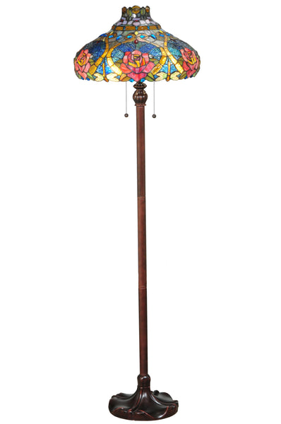 "Cabin Style Floor Lamps Meyda 138109 - 60""H Dragonfly Rose Floor Lamp"