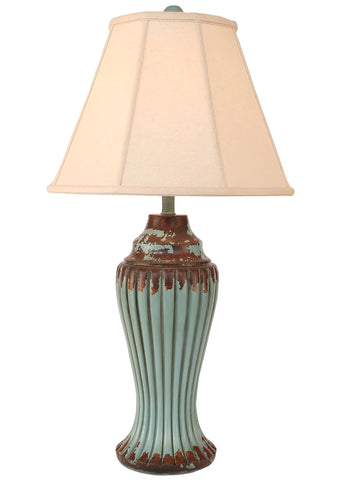 Country Table Lamps - Aged Turquoise Sea Carved Ridged Table Lamp