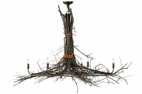 "Log Cabin Style Ceiling Lights Meyda 141355 - 58""L Twigs 6 LT Oblong Chandelier"
