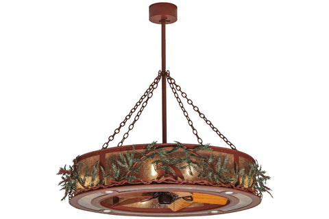 "Modern Rustic Style Ceiling Lights Meyda 142069 - 50""W Northwoods Bear Pine Branch Chandel-Air"