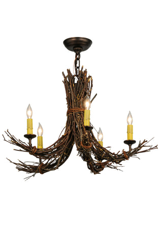 "Modern Rustic Ceiling Lights Meyda 145097 - 28""W Twigs 5 LT Chandelier"