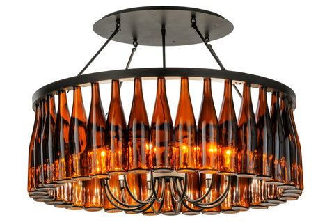 "Modern Country Style Ceiling Lights Meyda 145354 - 38""W Tuscan Vineyard Estate 36 Wine Bottle Chandelier"