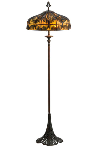 "Rustic Lodge Style Floor Lamps Meyda 146206 - 63""H Original Handel Peacock Floor Lamp"