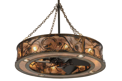 "Country Style Ceiling Lights Meyda 147376 - 44""W Whispering Pines Custom Logo Up and Downlight Chandel-Air"