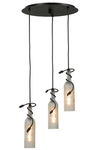 "Rustic Lodge Ceiling Lights Meyda 147536 - 16""W Tuscan Vineyard Etched Grapes 3 LT Wine Bottle Cascading Pendant Light"
