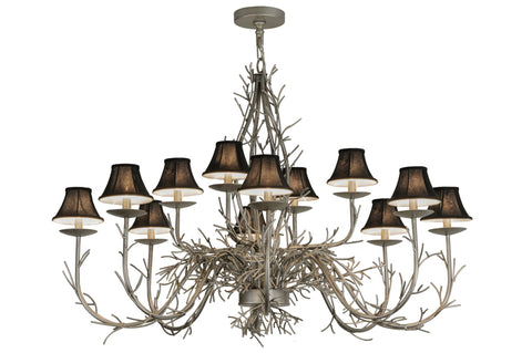 "Modern Log Cabin Ceiling Lights Meyda 147591 - 50""W Twigs 12 LT Chandelier"