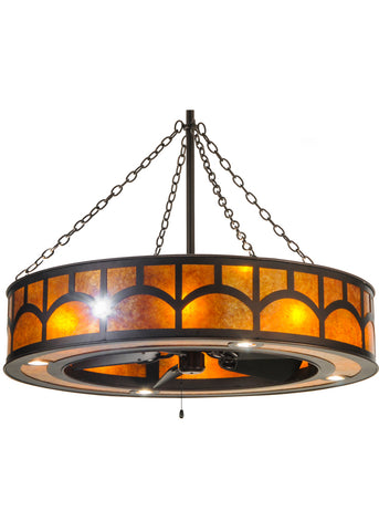 "Lodge Style Ceiling Lights Meyda 148947 - 44""W Mission Hill Top W/Up and Downlights and LED Spotlight Chandel-Air"