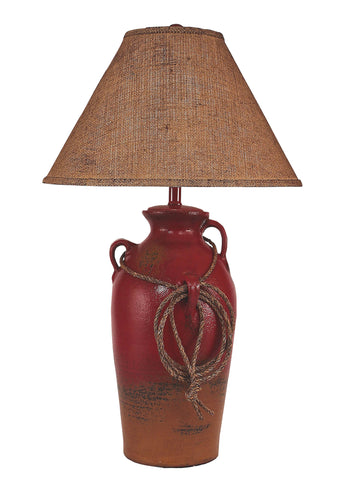 Modern Log Cabin Style Table Lamps - Firebrick 3 Handled Table Lamp w/ Lasso