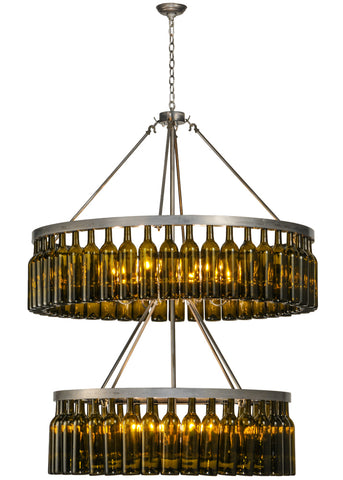 "Rustic Farmhouse Ceiling Lights Meyda 150900 - 46""W Tuscan Vineyard Estate 80 Wine Bottle Two Tier Chandelier"