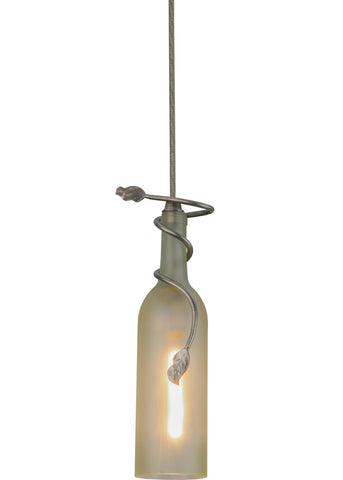 "Rustic Ceiling Lights Meyda 151308 - 5""W Tuscan Vineyard Clear Frosted Wine Bottle Mini Pendant Light"