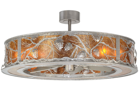 "Cabin Style Ceiling Lights Meyda 152171 - 44""W Whispering Pines Chandel-Air"
