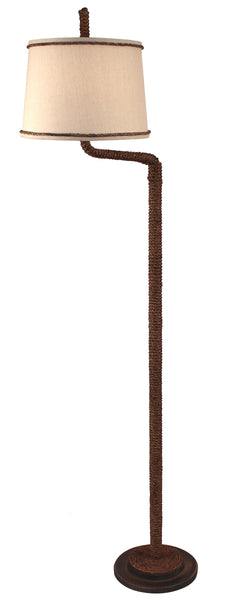 Rustic Farmhouse Style Floor Lamps - Dark Sandalwood Manila Rope Swing Arm Floor Lamp